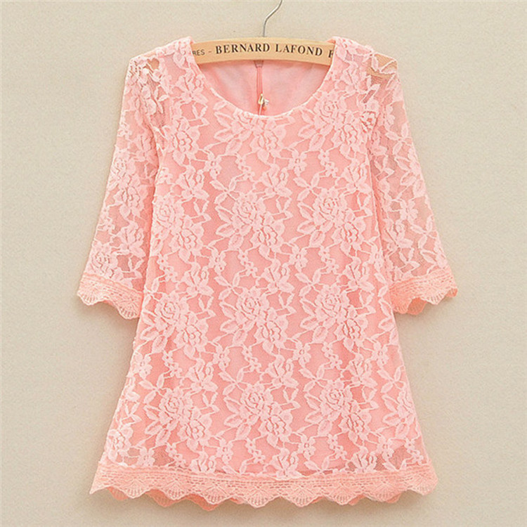 Summer Fashion Korean Children Clothing Girls White Rose Flower Lace Dress Princess Mini Dresses Kids Pakaian untuk gadis remaja