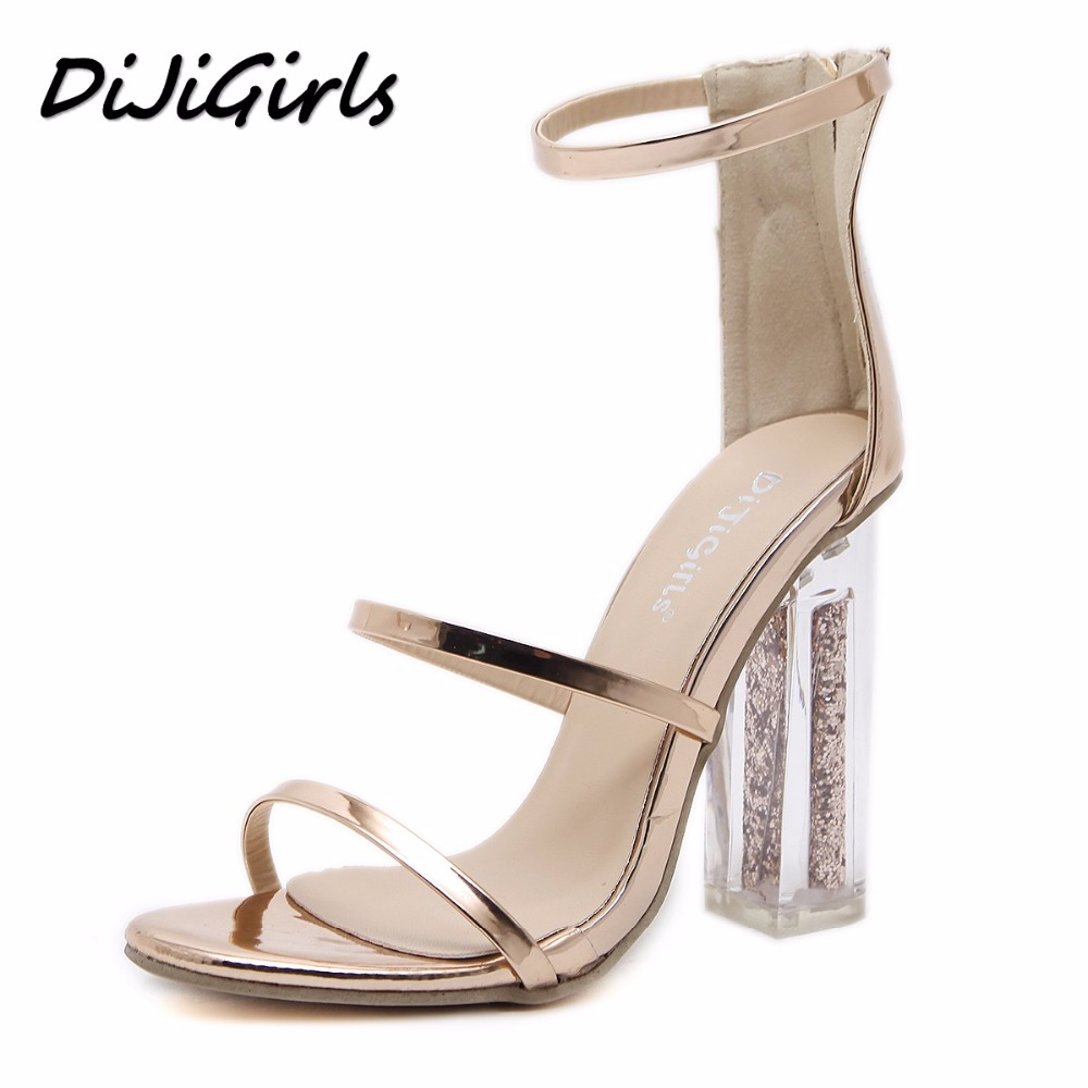 DiJiGirls sexy women high heels gladiator sandals shoes woman pumps peep toe ladies crystal Transparent square heel sandals cdts 35 45 46 summer zapatos mujer peep toe sandals 15cm thin high heels flowers crystal platform sexy woman shoes wedding pumps