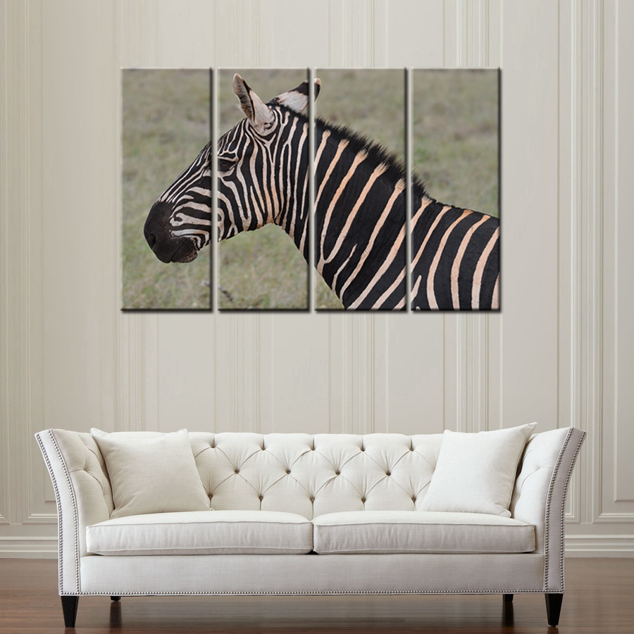 4 Panels Animals Canvas Painting Print Beautiful Zebra Art Wall for ...