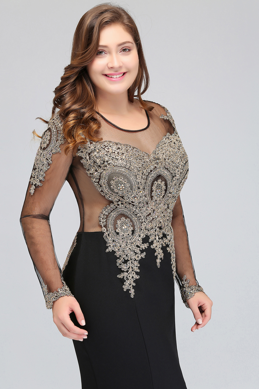 Élégante mère de la mariée robe dentelle Satin 2019 sirène à manches longues Applique noir longue formelle fête robes de soirée pour mariage - 2