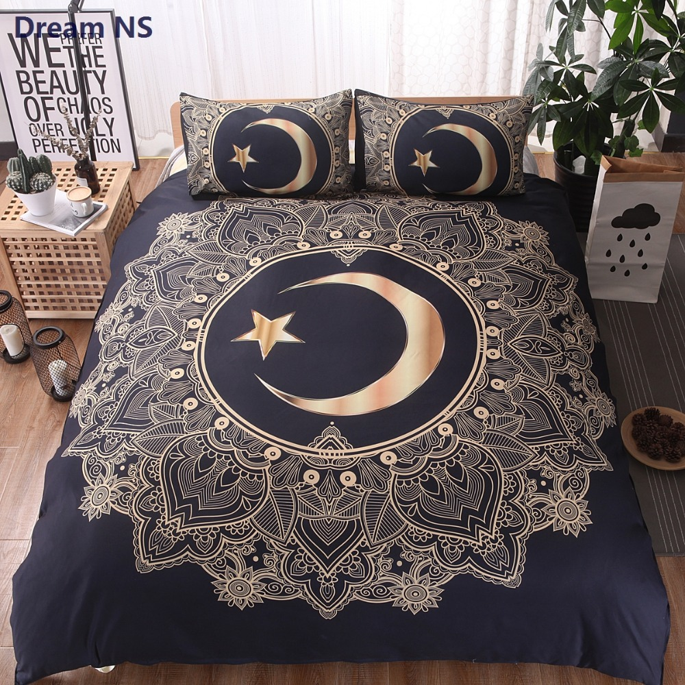 AHSNME Moon God Bedding Set Indian Myth Mandala Duvet Cover Queen King Size for Adults Double Bed Black Bohemian Bedspread