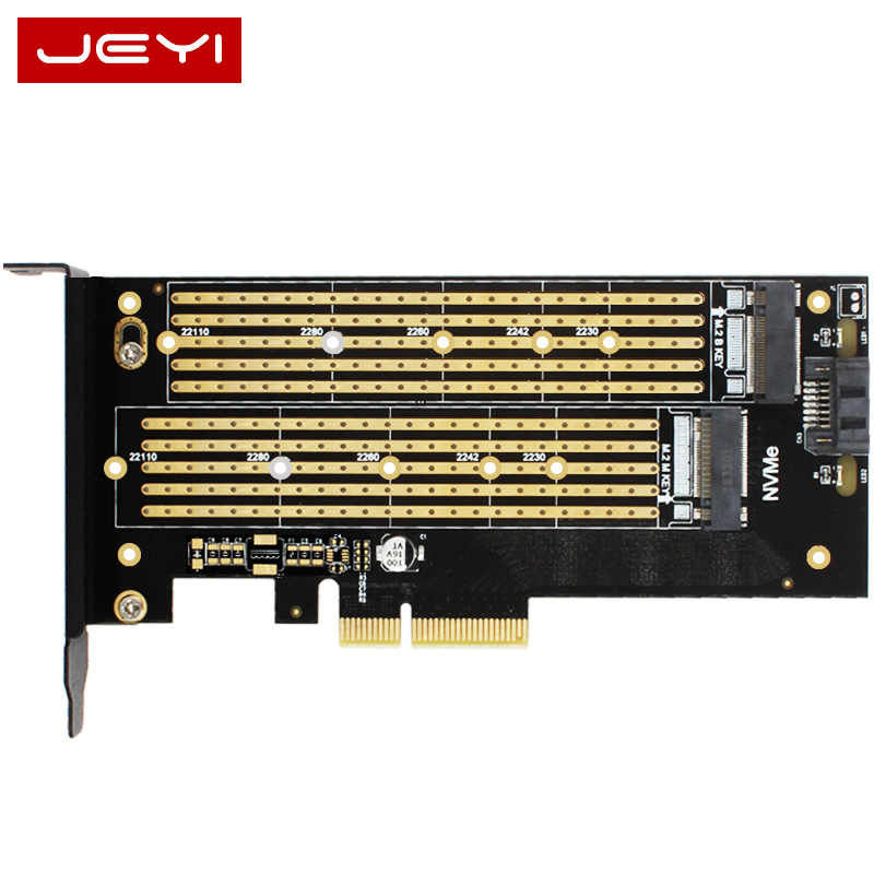 JEYI SK6 Server M.2 NVMe SSD NGFF PCIE X4 adattatore M Chiave Tasto B dual add on card Suppor PCI Express3.0 2230-22110 Tutto Il Formato m.2