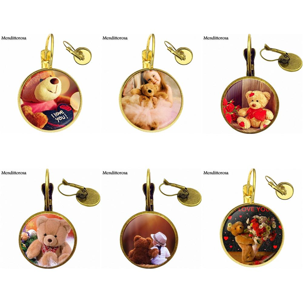 For Girls Gift Cute Teddy Bear Harajuku Jewelry With Glass Cabochon Bronze/Silver/Golden Clip Ear Hook Drop Earrings