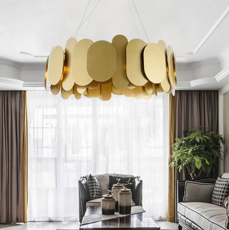 Postmodern creative stainless steel chandelier Nordic minimalist art chandelier villa bedroom restaurant light luxury living led-in Lampade a sospensione da Luci e illuminazione su wendy3621161 Store