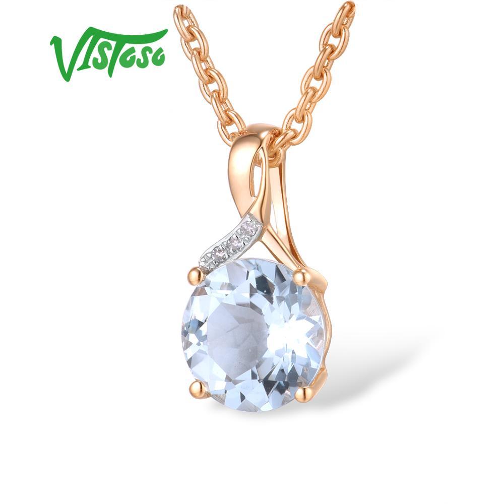 VISTOSO Gold Pendant For Women Genuine 14K 585 Rose Gold Radiant Blue Topaz Sparkling Diamond Pendant Delicate Fine Jewelry