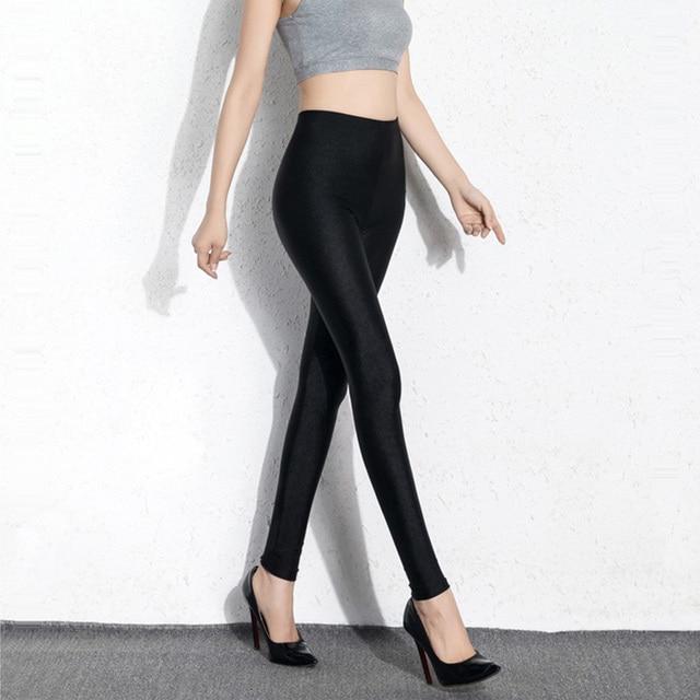 BIVIGAOS Womens Sexy Shiny Stretch Leggings Thin Ankle Pants Legins Slim Black Leggings Gothic Trousers For Women Clothing 2