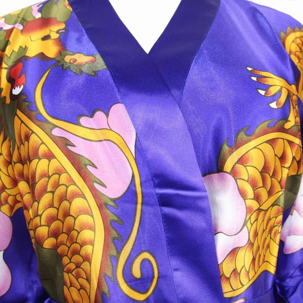 赤ノベルティ印刷ドラゴン女性着物中国エスニックレーヨンパジャマ浴衣の女性セクシーなロングナイトウェア