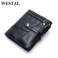 WESTAL men   wallets   genuine leather small   wallet   with zipper coin pocket   wallet   men solid mini male purse leather   wallet