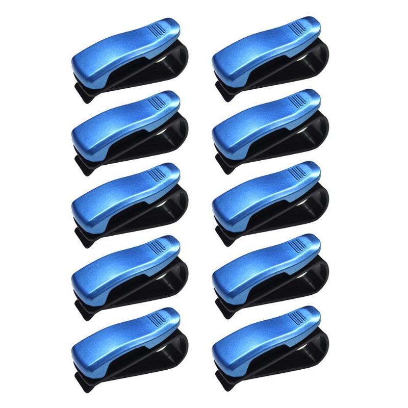 5/10 шт. Универсальный Авто Автомобильный солнцезащитный козырек, очки, солнцезащитные очки для женщин карты квитанции зажимы держателя установлен на солнцезащитном козырьке держать безопасно - Color Name: 10PCS Blue