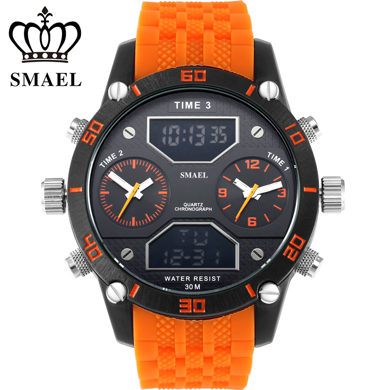 Big Men s Sports Watches Three Time Display LED Digital Quartz Watch Waterproof Dual Time Casual