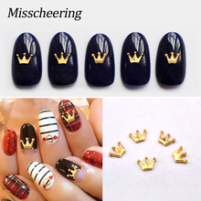 20pcs pack New Fashion Crown Alloy Nail Art Rhinestones Studs Gold 3D Nail  Jewelry Charm de1059d2350d