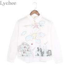 ฤดูใบไม้ผลิฤดูใบไม้ร่วงญี่ปุ่นโลลิต้าสไตล์ผู้หญิงปีเตอร์แพนเสื้อคอปกเฮลิคอปเตอร์ปักเสื้อแขนยาว
