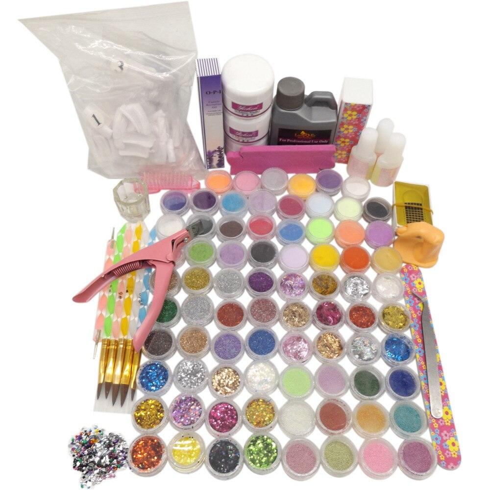78 Acrylic Powder Glitter Ball Liquid Stripe Velvet Nail Art Set