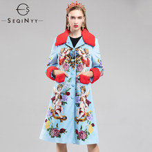 e6b86ec6fe3 SEQINYY High Street Ladies Fashion Trench 2018 Early Autumn Print Patchwork  Single Breasted Hot Sale Light Blue Long Slim Coat