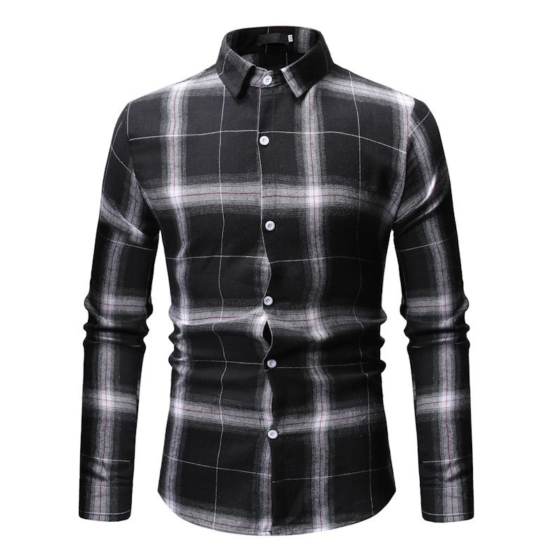New Autumn Fashion Brand Men Clothes Slim Fit Men Long Sleeve Shirt Men Plaid Cotton Casual Men Shirt Social Plus Size M 3XL 7 in Casual Shirts from Men 39 s Clothing
