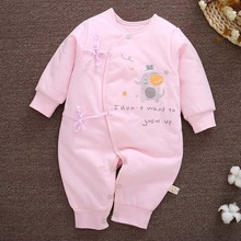Coveralls String Closure O-Neck Full-Sleeves Cute Soft Breathable Elephant Print 100% Cotton Jumpsuits 3-6 Months