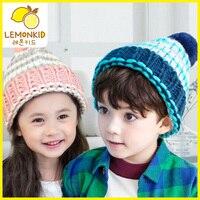 Nuevos cabritos de la manera caliente suéter de punto chicas chicos de corea bola de pelo de conejo niños bebé sombrero de invierno