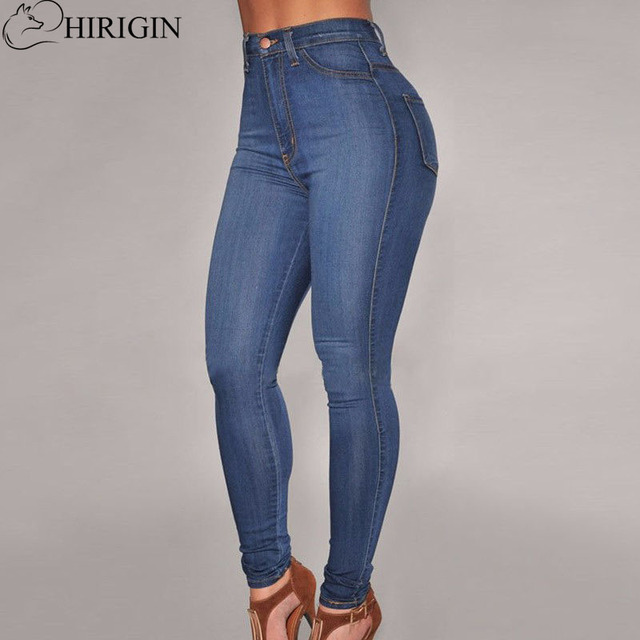 25f36a7d98f HIRIGIN Slim Jeans For Women Skinny High Waist Jeans Woman Denim Pencil  Pants Stretch Waist Women