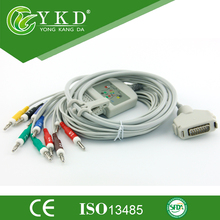 Free shipping compatible Fukuda Denshi 10 Lead one-piece series EKG cable AHA banana 4.0 plug