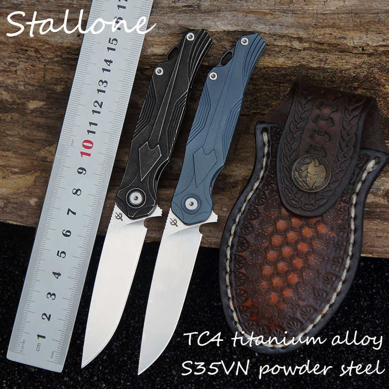 Stallone S35VN blade folding knife TC4 titanium alloy handle pocket knife camping tactical hunting knife EDC tool cart fishing Stallone S35VN blade folding knife TC4 titanium alloy handle pocket knife camping tactical hunting knife EDC tool cart fishing