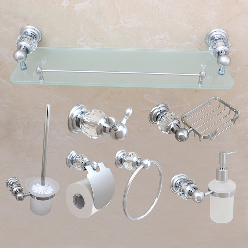 Luxury Chrome 7-Piece brass bath shelf Robe hook paper holder towel ring Toilet brush holder Bathroom Hardware Accessory Set luxury bath accessory set golden bathroom accessories paper holder toilet brush holder single towel bar solid brass material