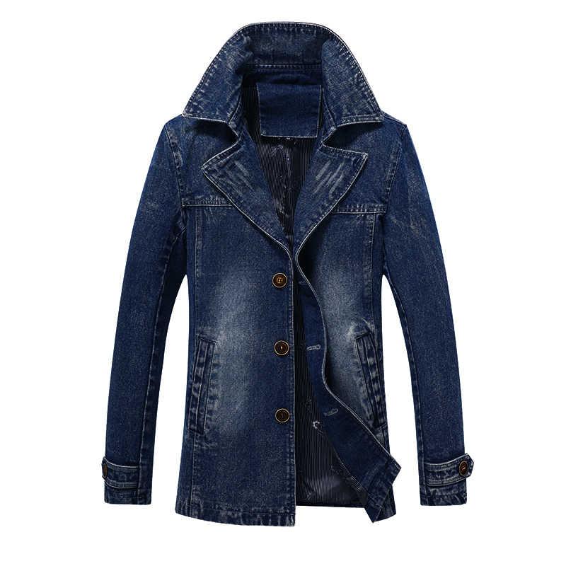 Мужские джинсовые куртки для мужчин пальто длинный отрезок Мода Тренч Masculina Homme бренд повседневное Fit Куртка Верхняя одежда
