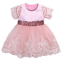 цены Girls Sequin Dresses 1st year birthday party wedding Christening baby infant clothing Short Sleeve Lace Bow Ball Gown