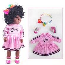 Muñeca de bebé negra africana Junta móvil muñeca de bebé americana niñas juguete regalo de Navidad de silicona completa muñeca de bebé l. o l
