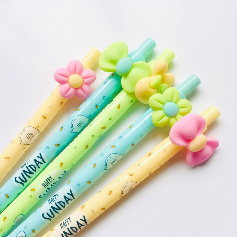 2X Kawaii Flower Rabbit Bow Press Automatic Mechanical Pencil School Office Supply Student Stationery