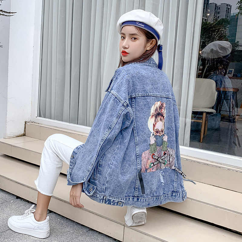 2019 Bf Chic Harajuk Denim Longgar Jaket Jeans Wanita Bordir Mantel Hip Hop Single Breasted Jaket Jeans Kasual Wanita Pakaian