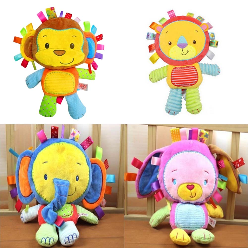 Happy Monkey Baby Toys Infant Animals Dolls Kids Rattles Soft Plush Toys Elephant Rabbit Lion Infant Toys Wholesale