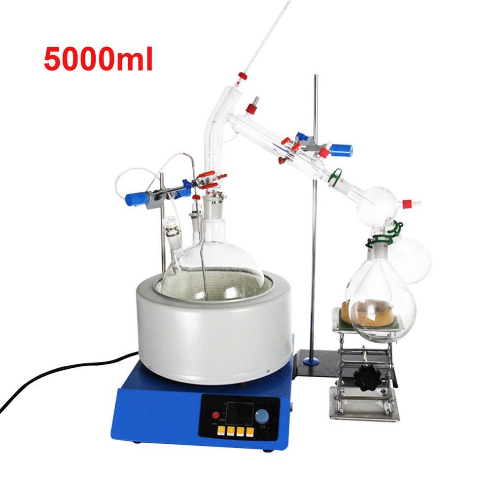 New 5000 ml Kits de Laboratório de Vidro Destilação A Vapor de Óleo Essencial Destilador de Água Purificador w/Magnetic Mexer Aquecimento Mantle