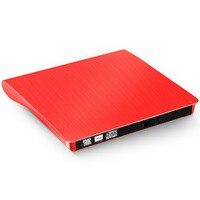 Externe Lecteur DVD-ROM CD-RW DVD-RW Graveur 2.0 Lire Écrivain pour PC Ordinateur Portable de Haute Qualité MAC OS Rouge