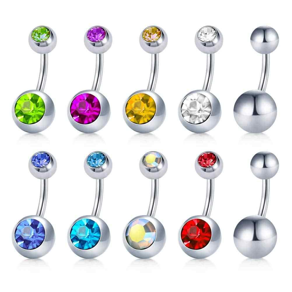 JFORYOU 10 חבילה נירוסטה 14G טבור פירסינג טבעת פירסינג תכשיטי לנשים ובנות CZ משובץ 6 m