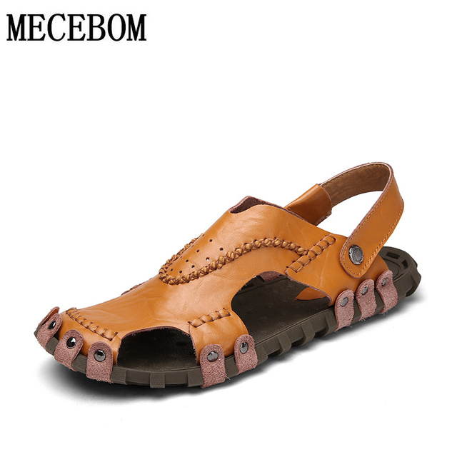Men sandals summer leisure genuine leather comfortable men sandals high quality men slippers casual footwear size 38-44 021m