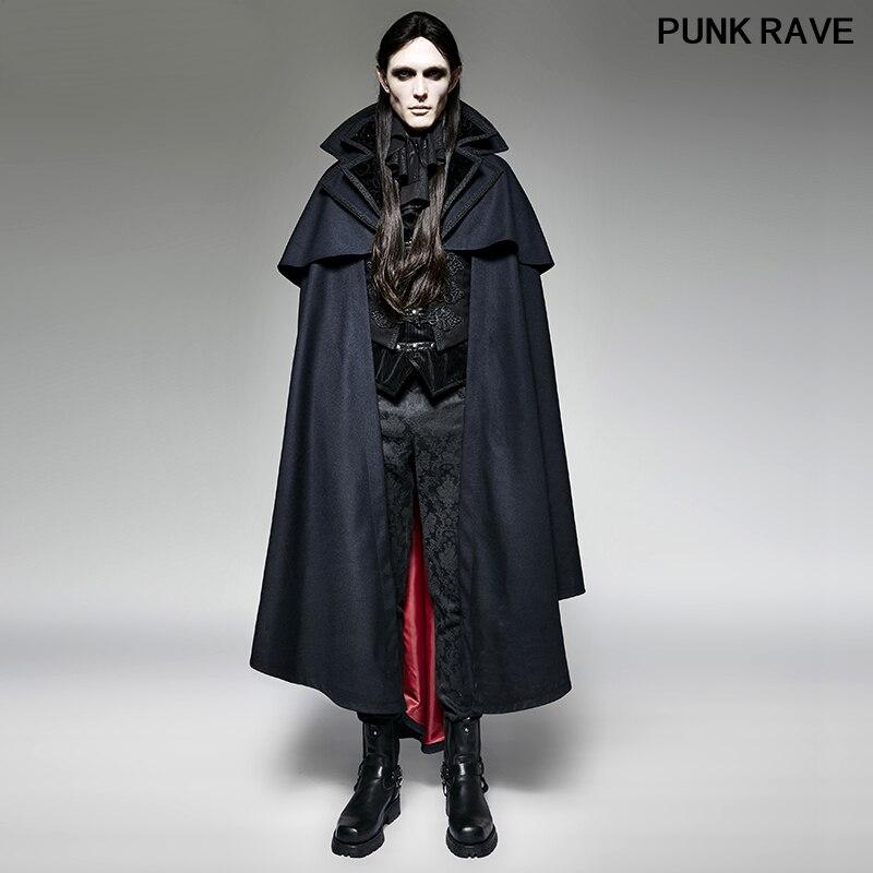Готический синий плащ с капюшоном мужские длинные пальто стимпанк Хэллоуин вампир накидка летучая мышь Свободный плащ без рукавов пальто ...