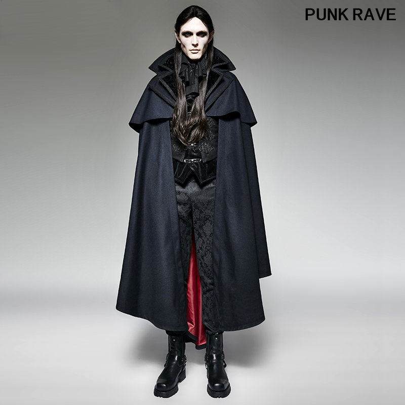 Gothic Blue Hoodie Cape Men Long Overcoats Steampunk Halloween Vampire Bat Cape Loose Sleeveless Cloak Coats PUNK RAVE Y-709
