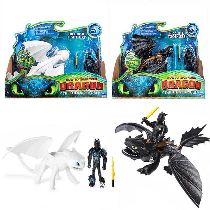 3 nova Como treinar O Seu Dragão fúria da noite Desdentado Fúria da Luz Pode mover PVC Collectible Presentes Dos Miúdos das Crianças brinquedo de presente