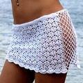2016 Сексуальные Женщины Купальники Бикини Cover up Пляж Юбка Насыщенный Белый Вязать Вязания Hollow