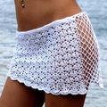 2016 Mulheres Sexy Swimwear Bikini Cover up Praia Saia Sólido Branco Knit Crochet Oco