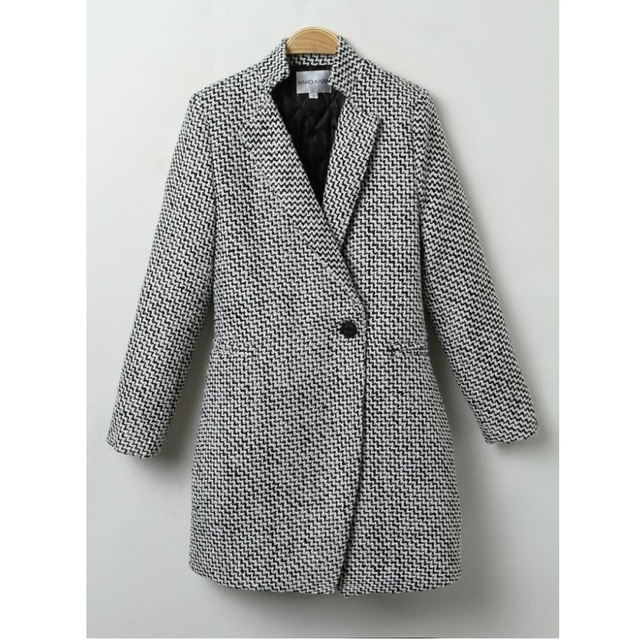 Европейская Мода Марка Весна Осень Пальто Женщин Средней Длины Серый Шерстяные Пальто Высокого Качества И Пиджаки Манто Femme