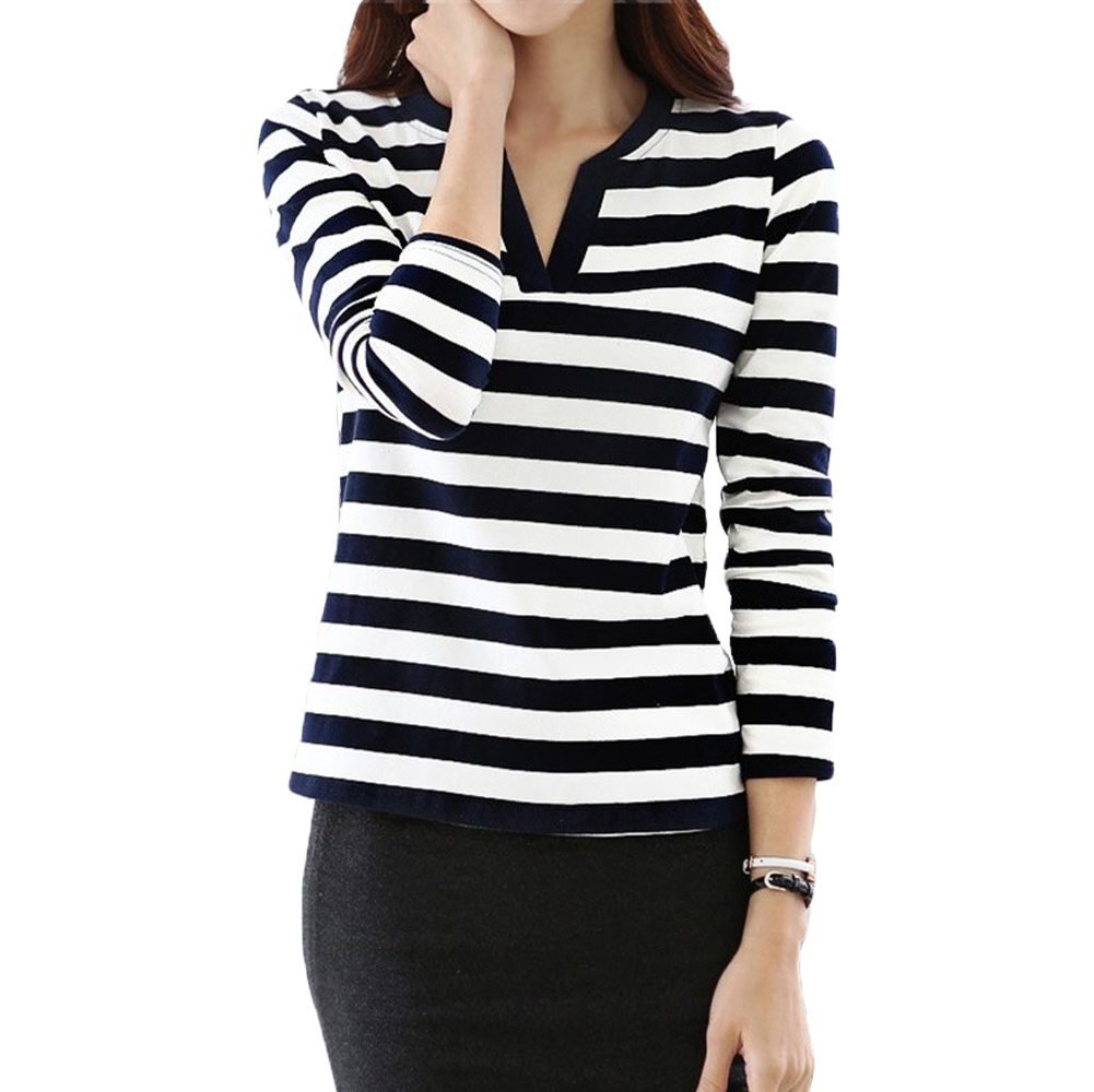 Black t shirt with white stripes - Online Shop T Shirts Womens Black White Striped Top Long Sleeve Casual T Shirt V Neck Plus Size Loose Tshirt Tee Blusas Hot Sale Aliexpress Mobile
