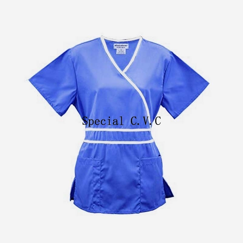 Women's Medical Uniforms Scrub Top Mock Wrap Shirt With Adjustable Waist And Back Tie Pharmacy Clinic Uniforms(Just A Top)