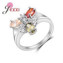 Wholesale New Shinning Three Clear Color Cubic Zirconia 925 Sterling Silver Rings Unique Design Girl's Engagement Ring(China)
