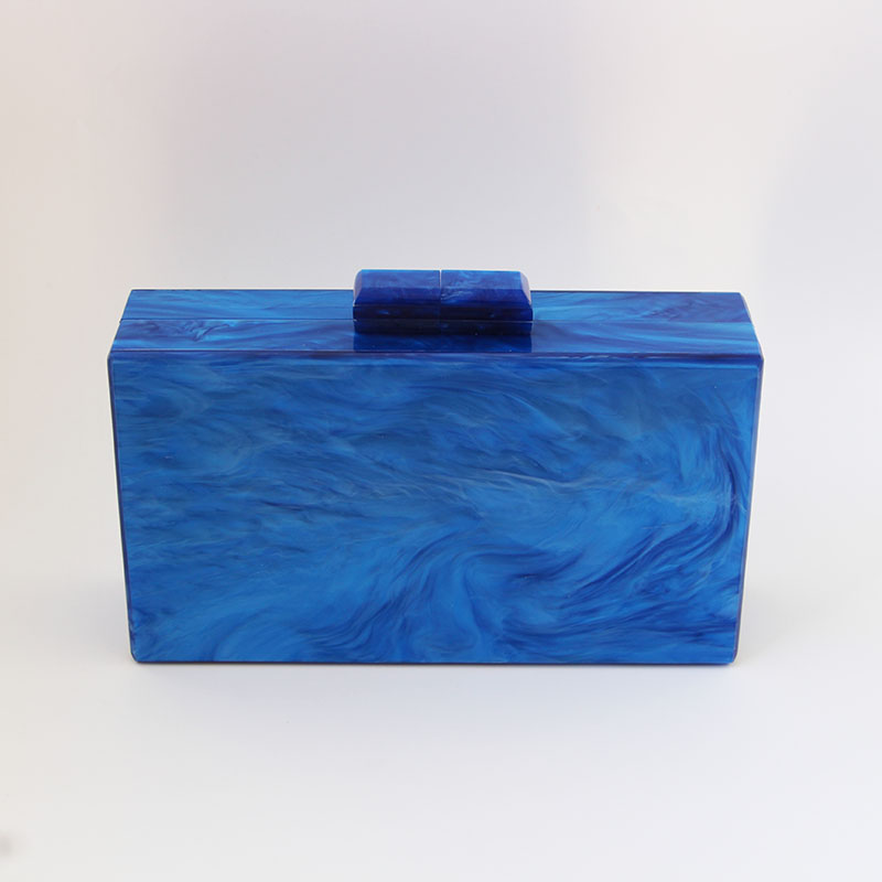 Pearl Blue Color Acrylic Box Clutch Bag Women Evening Bag Wedding Party Prom Shoulder Handbag Hardcase Metal Acrylic Clutches