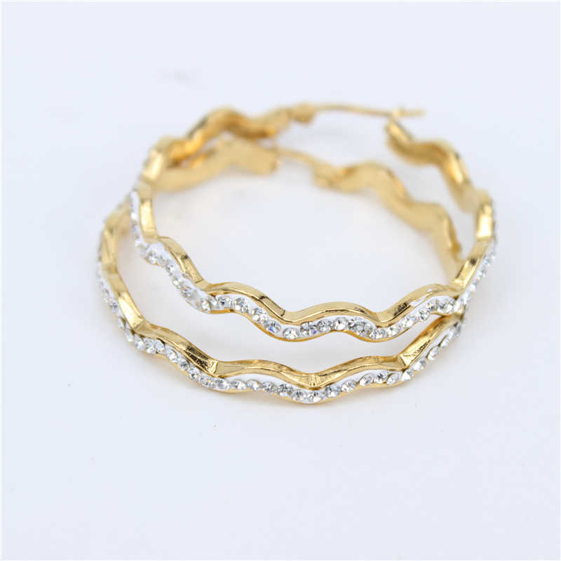 MGUB  High quality Fashion Rhinestones Classic Stainless Steel Gold Color Crystal Hoop Earrings for women Wholesale LH266