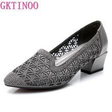Female Shoes Rhinestone Square Heel Genuine-Leather GKTINOO Footwear Soft Slip-On