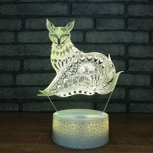 Fox Colorful Discolored Bedside 3d Lamp Children Room Decoration 3d Light White base Lovely 7 color change  Led Night Light
