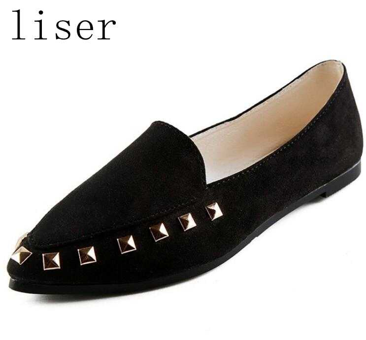 liser New Pointed Toe Rivet Shoes Women Casual Shoes Women Flats Slip On  Comfortable Slip Shallow 8b8f1943372a