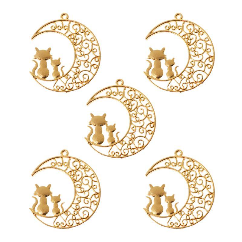 5 pièces Chat Sur Lune Blanc Cadres De Résine Pendentif Lunette Réglage bijoux en résine Faire